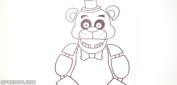 Draw the body and arms of Freddy Fazbear