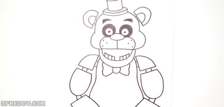 Draw the body and arms of Freddy Fazbear
